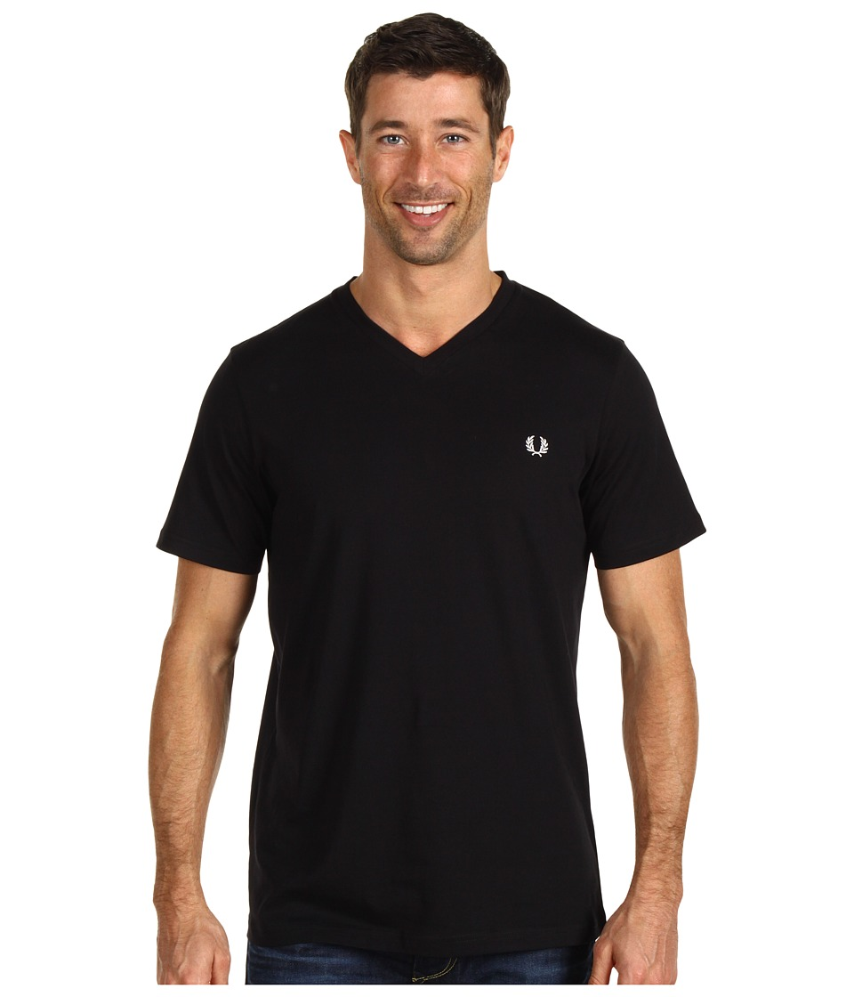 Fred Perry - Plain V-Neck T-Shirt (Black) Men's T Shirt