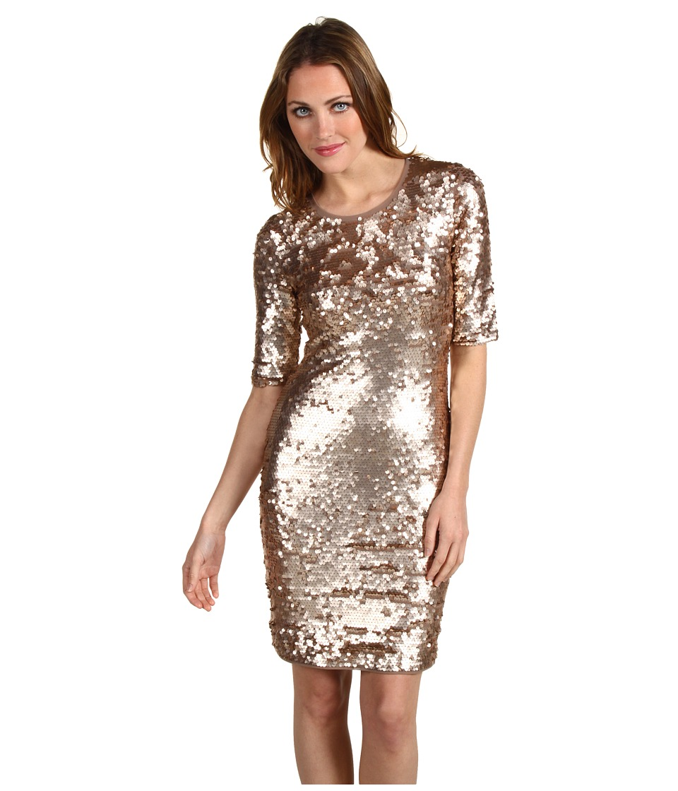 BCBGMAXAZRIA - Marta 3/4 Sleeve Sequin Dress (Jute Combo) Women's Dress