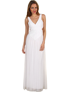 SALE! $174.99 - Save $173 on BCBGMAXAZRIA Mara V Neck Open Back Gown (White) Apparel - 49.72% OFF $348.00