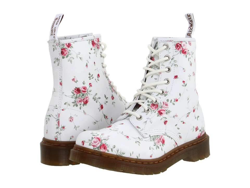 Dr. Martens - 1460 W 8-Eye Boot (White/Portland Rose) Women's Lace-up Boots