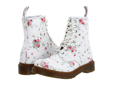 Dr. Martens - 1460 W 8-Eye Boot (White/Portland Rose) Women
