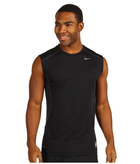 Nike - Pro Combat Core Fitted S/L Shirt (Black/Grey) Men's Sleeveless