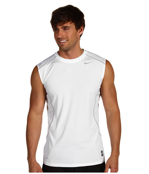 Nike - Pro Combat Core Fitted S/L Shirt (White/Metallic Silver) Men's Sleeveless