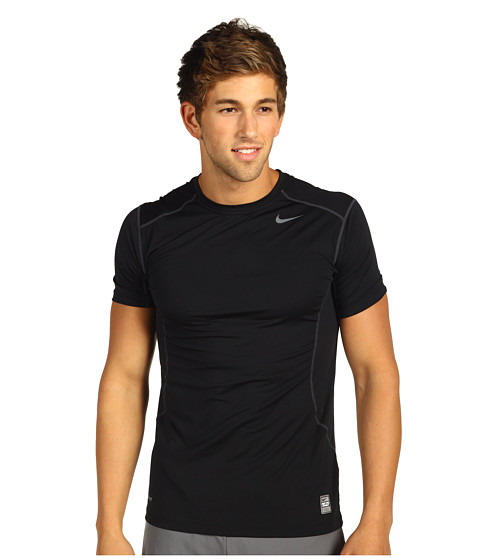 Nike - Pro Combat Fitted 2.0 S/S Crew (Black/Anthracite) Men's Short Sleeve Pullover