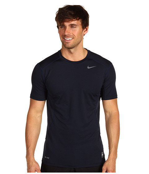 Nike - Pro Combat Fitted 2.0 S/S Crew (Dark Obsidian/Grey) Men's Short Sleeve Pullover