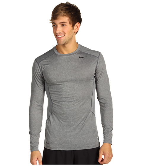Nike - Pro Core Fitted Long Sleeve Top 2.0 (Carbon Heather/Black) Men's Long Sleeve Pullover