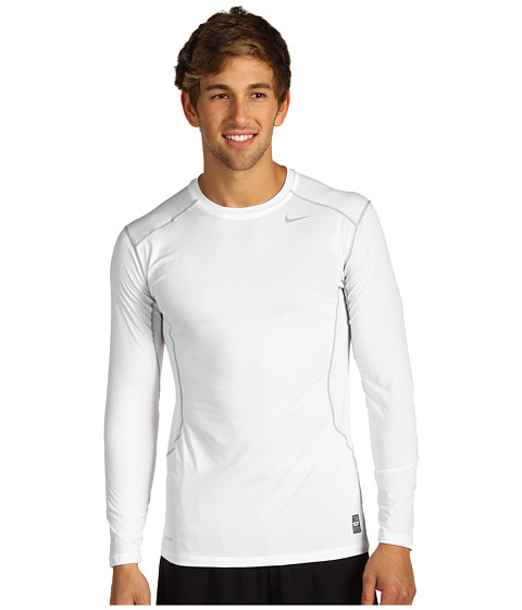 Nike - Pro Core Fitted Long Sleeve Top 2.0 (White/Metallic Silver) Men's Long Sleeve Pullover