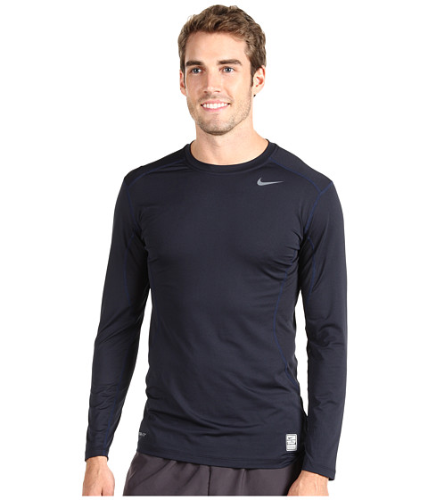 Nike - Pro Core Fitted Long Sleeve Top 2.0 (Dark Obsidian/Grey) Men's Long Sleeve Pullover