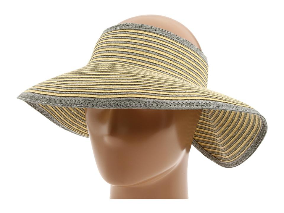 San Diego Hat Company - UBV002 Sun Hat Visor (Grey/Yellow Stripe) Casual Visor