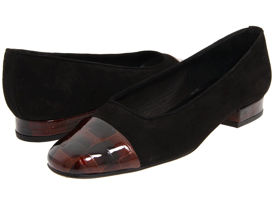 Vaneli - FC-313 (Black Suede/Brown Print) Women's Slip on Shoes