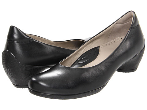 ECCO - Sculptured Pump (Black Shiny) Women's Slip on Shoes