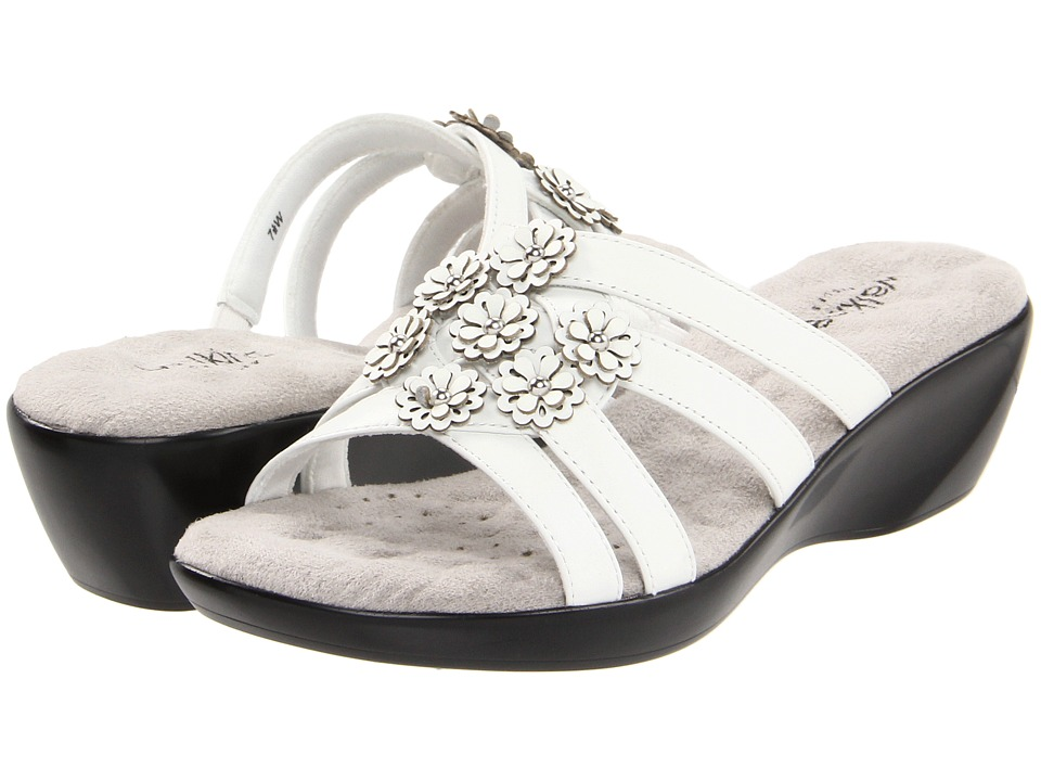 Walking Cradles - Cookie (White Leather/Patent Flowers) Women's Slide Shoes