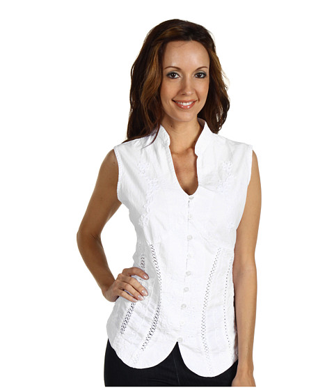 Scully - Cantina Beautifully Detailed S/L Blouse (White) Women's Blouse