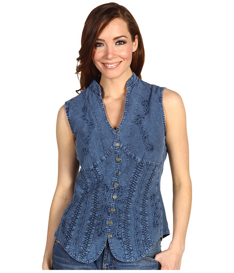 Scully - Cantina Beautifully Detailed S/L Blouse (Dark Blue) Women's Blouse