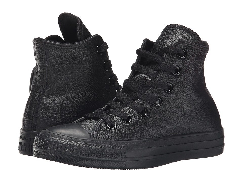 Converse Chuck Taylor All Star Leather Hi (Black Monochrome) Classic Shoes