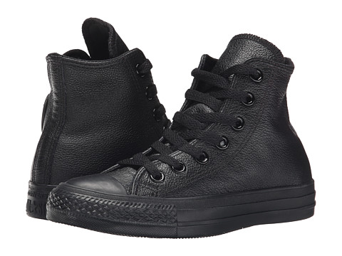 Converse - Chuck Taylor All Star Leather Hi (Black Monochrome) Classic Shoes