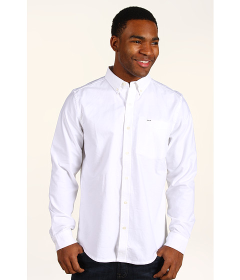 Hurley - Ace Oxford L/S Woven Shirt (White) Men's Long Sleeve Button Up