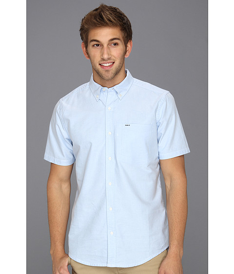 Hurley - Ace Oxford S/S Woven Shirt (Blue Oxford) Men's Short Sleeve Button Up