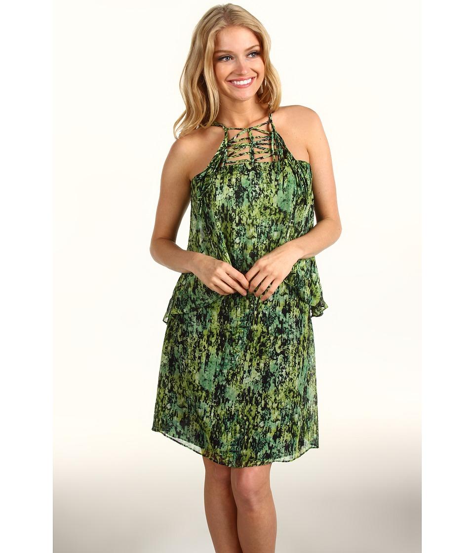 BCBGMAXAZRIA Kaia Tiered Silk Dress (Evergreen Combo) Women