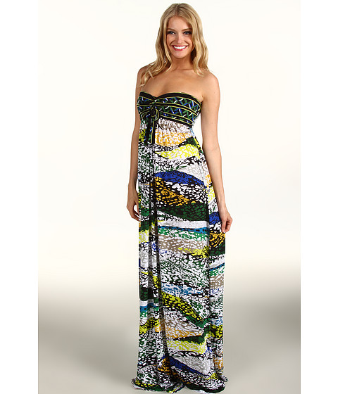BCBGMAXAZRIA - Cybele Strapless Jersey Maxi Dress (Evergreen Combo) Women's Dress