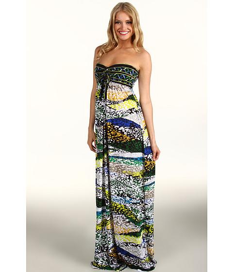BCBGMAXAZRIA - Cybele Strapless Jersey Maxi Dress (Evergreen Combo) Women