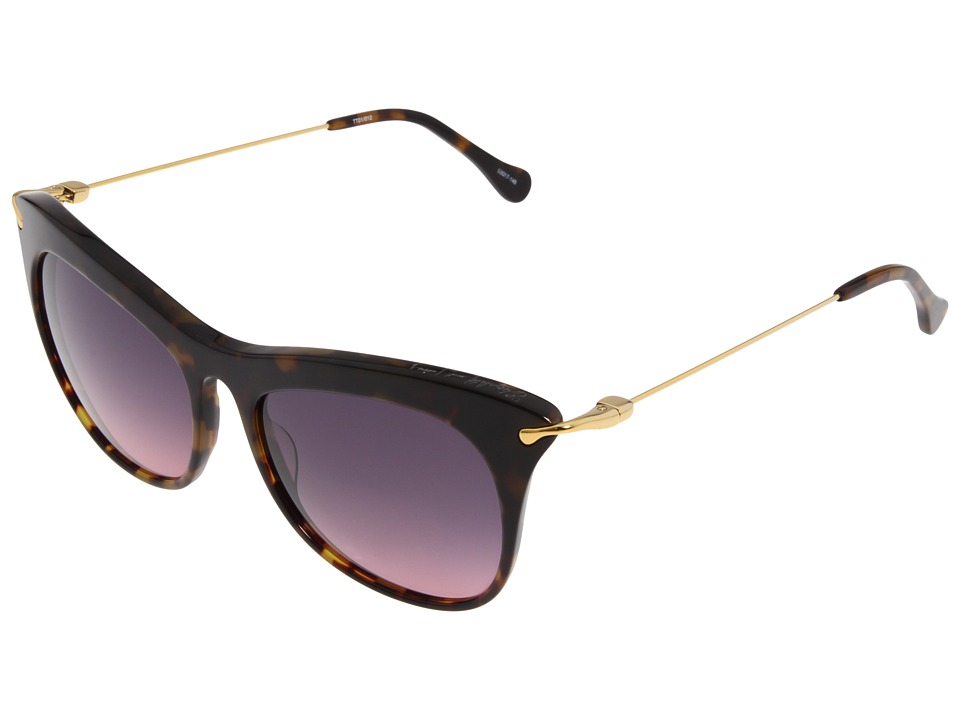 Elizabeth and James - Fairfax (Shiny Tortoise/Gold Metal/Smoke Red Ocean) Fashion Sunglasses