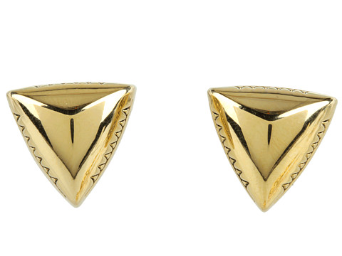 House of Harlow 1960 - Engraved Faceted Pyramid Stud Earrings (14K Yellow Gold Plated) Earring