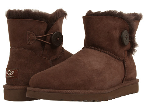 UGG - Mini Bailey Button (Chocolate) Women's Pull-on Boots