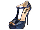 Roberto Cavalli - Satin Sandal Pump with Embroidered Tube Sequins (05599/Deep Blue) Sandal