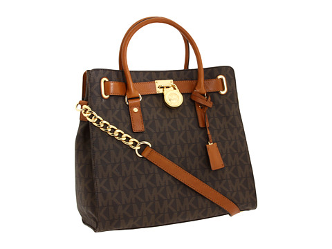 MICHAEL Michael Kors - Hamilton North/South Tote with PVC Logo (Brown) Tote Handbags