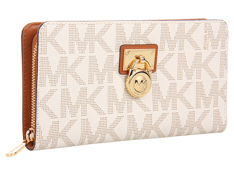 MICHAEL Michael Kors - Hamilton Large Zip Around - Gold Hardware (Vanilla/Luggage) Bi-fold Wallet