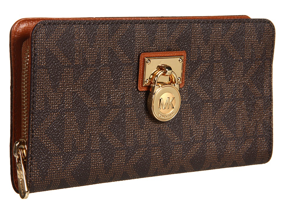 MICHAEL Michael Kors - Hamilton Large Zip Around - Gold Hardware (Brown/Luggage) Bi-fold Wallet