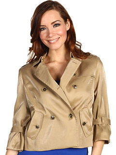 SALE! $79.99 - Save $119 on Anne Klein Luster Cloth Cropped Trench Coat (Gold) Apparel - 59.80% OFF $199.00