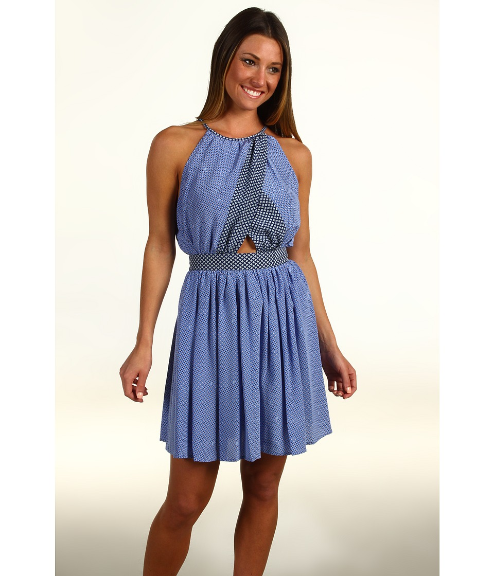Juicy Couture - Gem Geo Print Halter Dress (Blue Vista/Atlantis Combo) Women