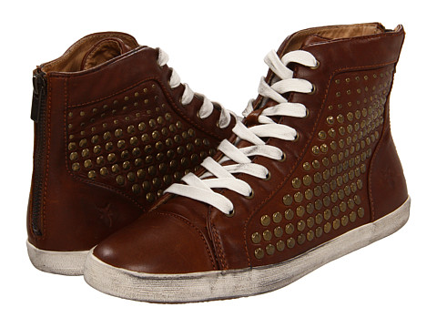 Frye - Kira Studded High (Cognac Soft Vintage Leather) Women's Lace up casual Shoes