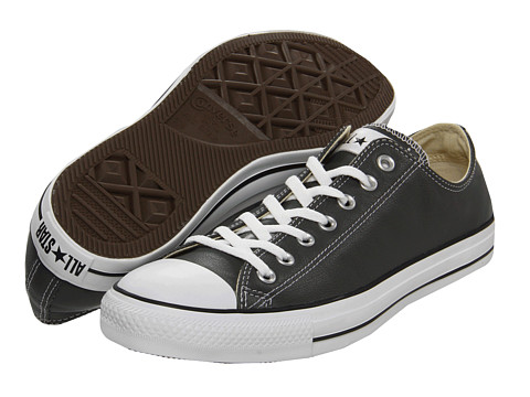 Converse - Chuck Taylor All Star Leather Ox (Charcoal Leather) Shoes