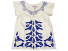 Juicy Couture Kids - Embroidered Silk Habotai Top (Toddler/Little Kids) (Angel/Cobalt Glow) - Apparel