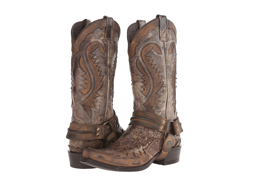 Stetson Snip Toe Harness Boot (Brown Crackle) Cowboy Boots