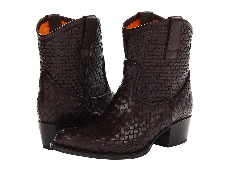 Frye Deborah Woven Short (Dark Brown Soft Full Grain) Cowboy Boots