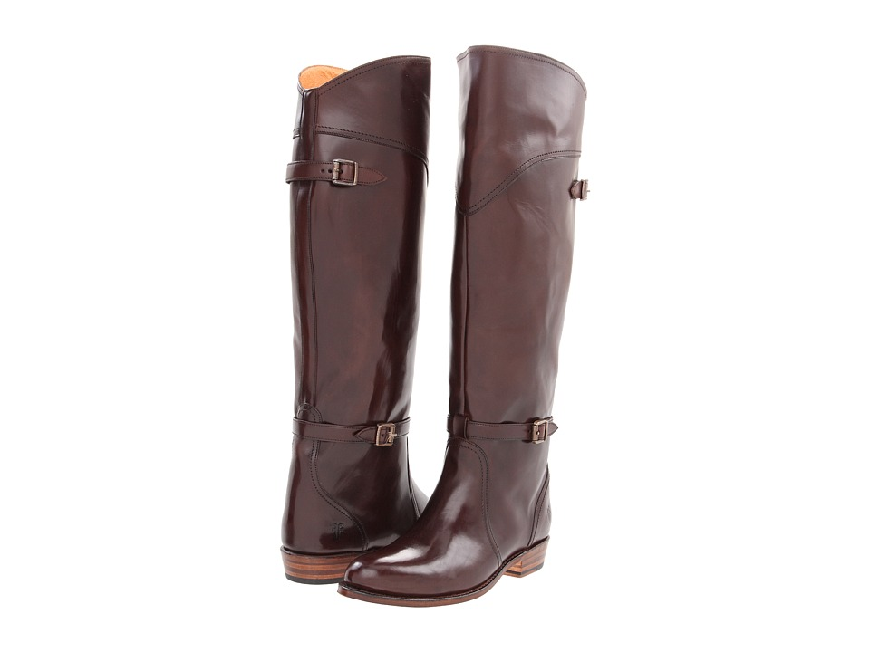 Frye Dorado Riding (Dark Brown Smooth Polished Veg) Women