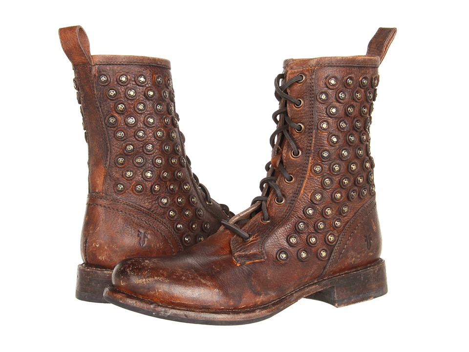 Frye - Jenna Disc Lace (Cognac Stone Antiqued) Women's Lace-up Boots