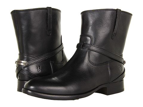 Frye - Lindsay Plate Short (Black Smooth Full Grain) Cowboy Boots