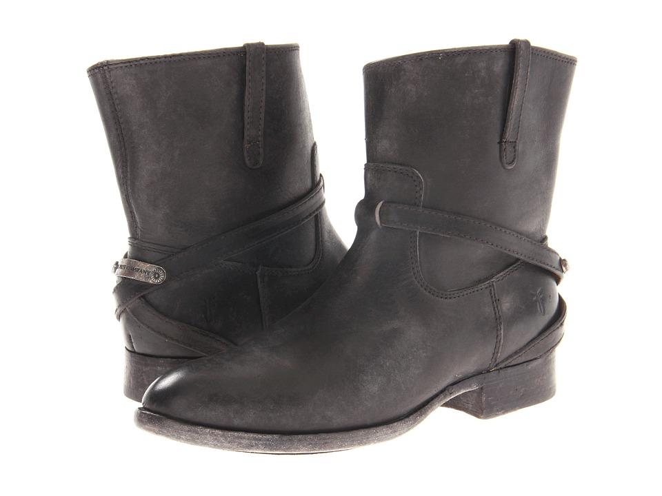 Frye - Lindsay Plate Short (Black Stone Antiqued) Cowboy Boots