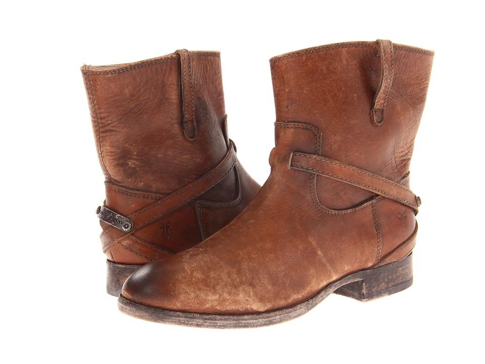 Frye - Lindsay Plate Short (Cognac Stone Wash) Cowboy Boots
