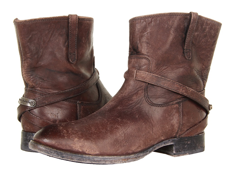 Frye Lindsay Plate Short (Dark Brown Stone Wash) Cowboy Boots