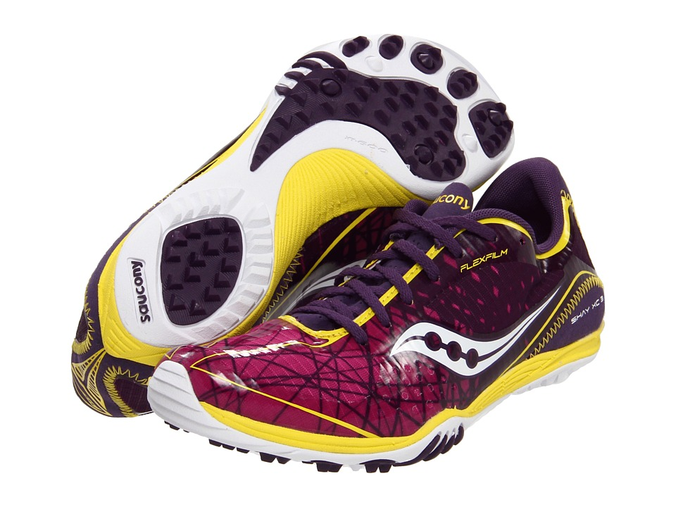 Saucony - Grid Shay XC3 (Flat) (Purple/Yellow) Women's Running Shoes