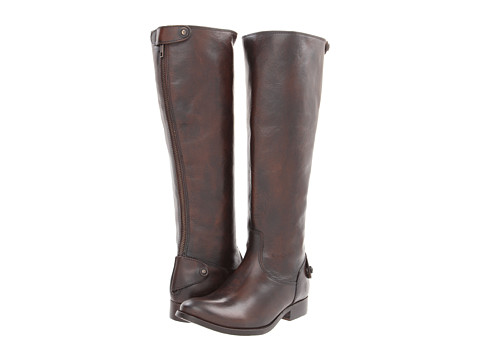 Frye - Melissa Button Back Zip (Dark Brown Brush Off) Women's Zip Boots