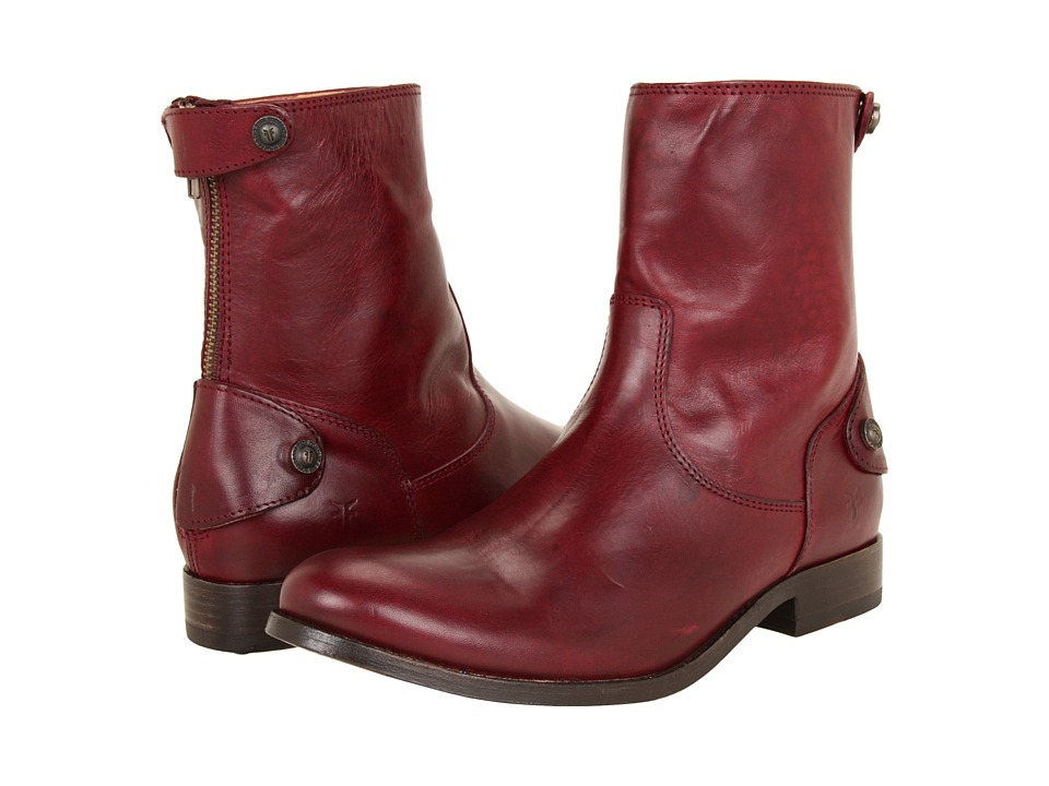 Frye - Melissa Button Zip Short (Bordeaux Soft Vintage Leather) Women's Zip Boots