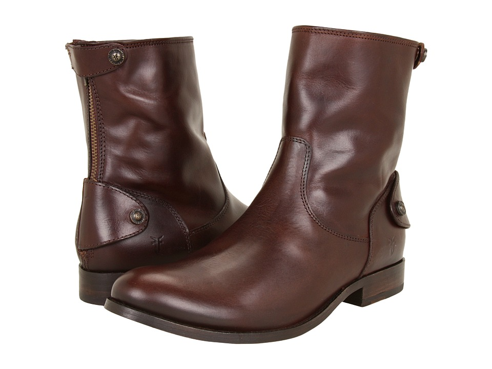 Frye - Melissa Button Zip Short (Dark Brown Soft Vintage Leather) Women's Zip Boots