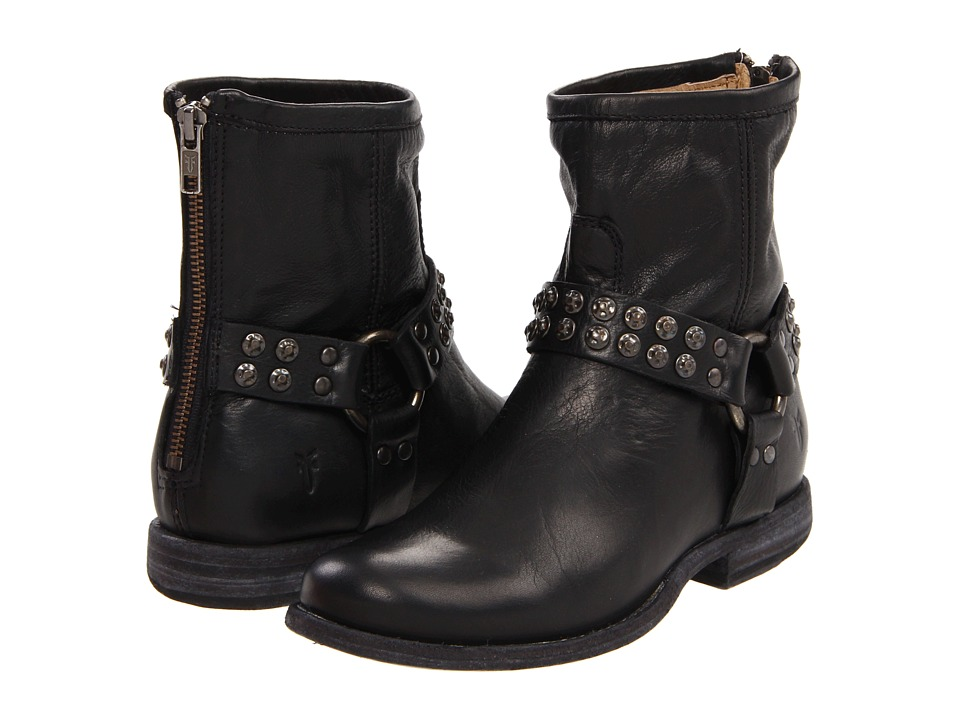 Frye - Phillip Studded Harness (Black Soft Vintage Leather) Women's Zip Boots